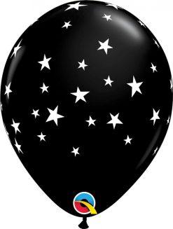 "11"" / 28cm Contempo Stars Onyx Black Qualatex #92722-1"