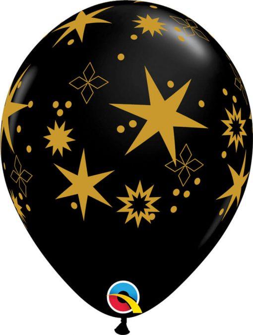 "11"" / 28cm Star Patterns Asst of White, Onyx Black Qualatex #97461-1"