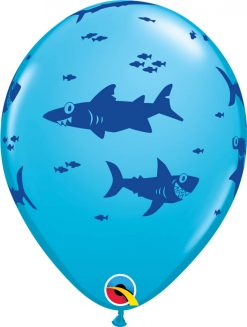 "11"" / 28cm Fun Sharks! Asst of Lime Green, Orange, Robin's Egg Blue Qualatex #98221-1"