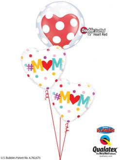 Bukiet 929 Mother's Day Giant Polka Dots & Hearts Qualatex #16872 82204-2 43730-1