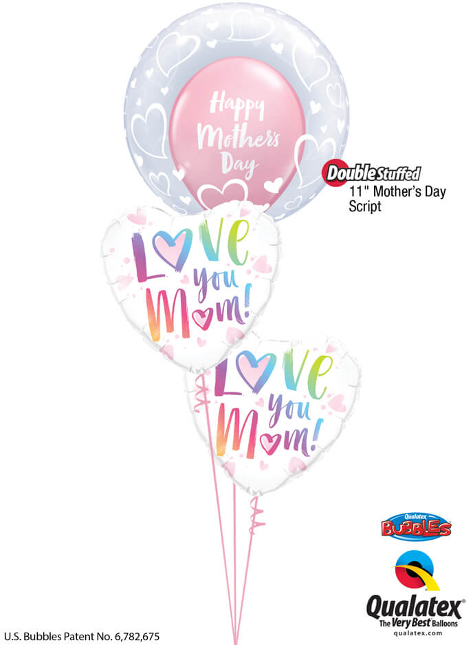 Bukiet 925 Multicolored Mother's Day Hearts Qualatex #29505 82256-2 85772-1
