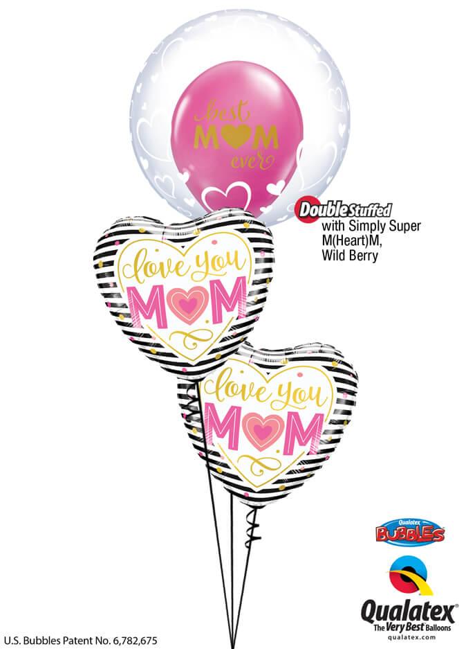 Bukiet 931 World's Best Mom! Qualatex #29505 55824-2 11243-1 25572-1