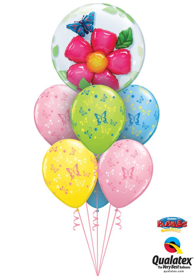 Bukiet 952 Double Bubble Flower and Butterflies Qualatex #68806 38428-6