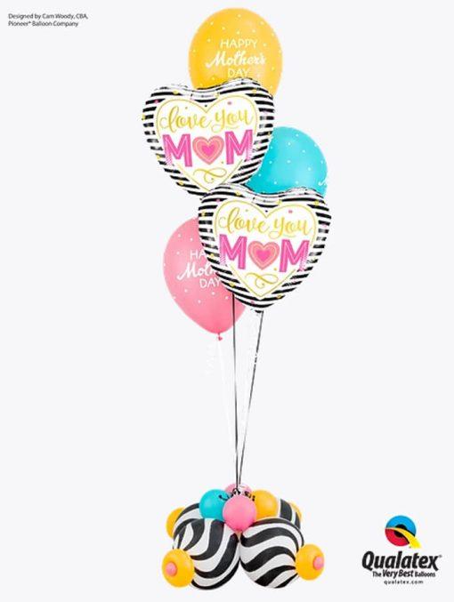 Bukiet 903 Mother's Day Stripes Qualatex #55824-2 57182-3 27933-4
