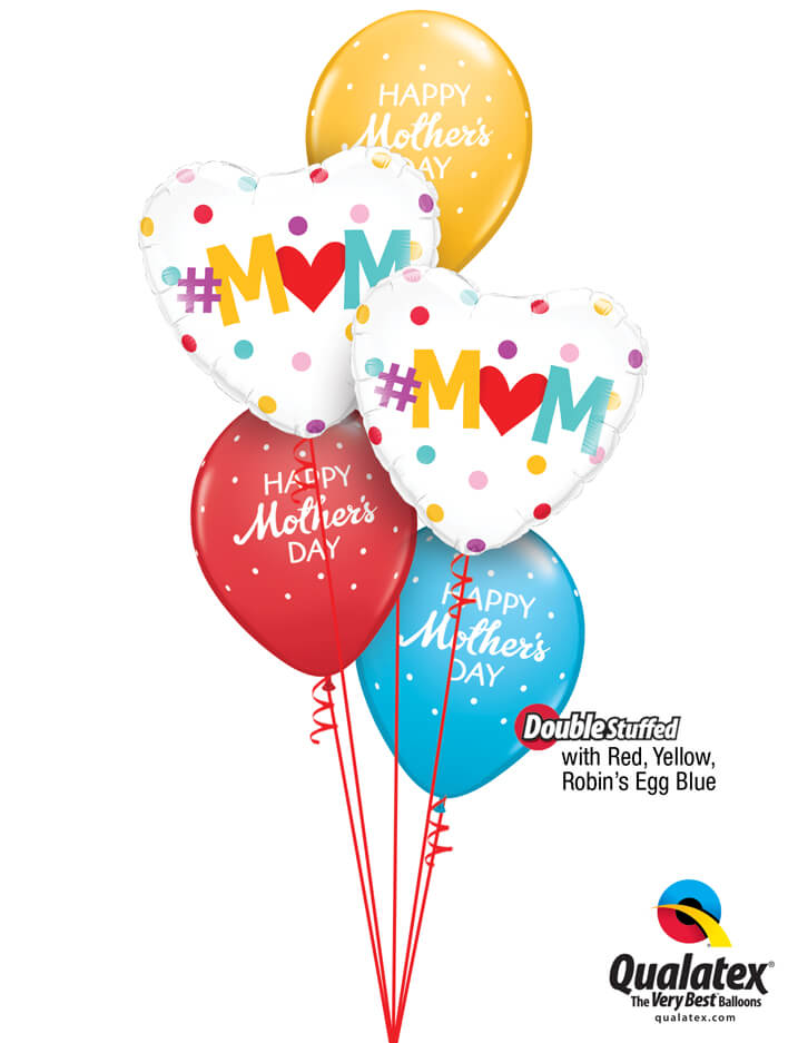 Bukiet 894 Red, Yellow, & Robin's Egg Blue Mother's Day Qualatex #82204-2 85704-3 82685-1 43790-1 43804-1