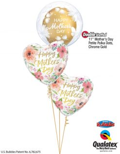 Bukiet 932 Pink & Gold Mother's Day Flower Bubble Qualatex #11560 85704-1 58271-1 82207-2
