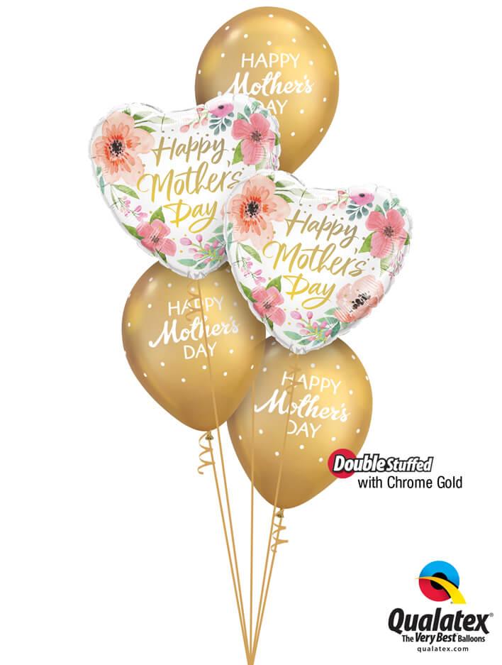 Bukiet 899 Chrome™ Gold Mother's Day Polka Dots Qualatex #82207-2 85704-3 58271-3