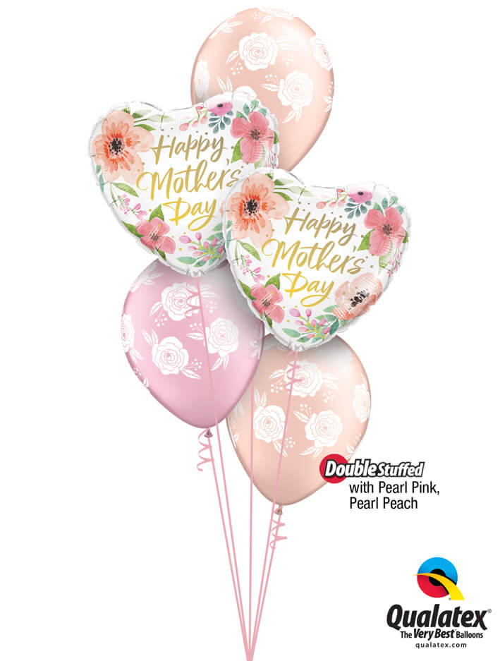 Bukiet 897 Pearl Pink & Pearl Peach Mother's Day Blossoms Qualatex #82207-2 85640-3 43783-1 43782-1