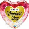 """18"""" / 46cm Mother's Day Roses Gold Heart Qualatex #82210"""