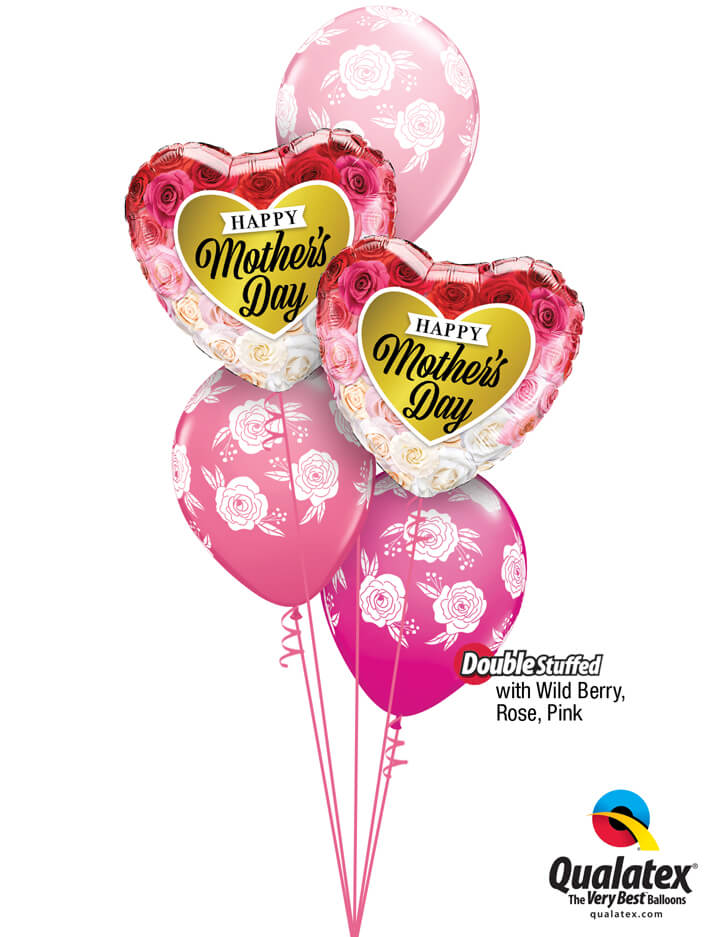 Bukiet 896 Wild Berry, Rose, & Pink Mother's Day Flowers Qualatex #82210-2 85640-3 43791-1 43766-1 25572-1