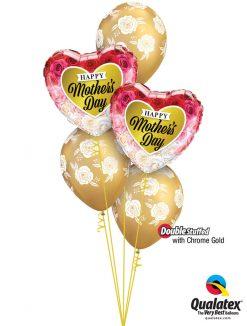 Bukiet 898 Chrome™ Gold Mother's Day Flowers Qualatex #82210-2 85640-3 58271-3