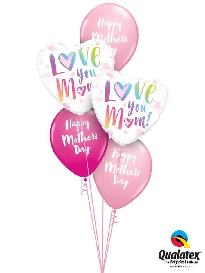 Bukiet 902 Pink, Wild Berry, & Rainbow Script Mother's Day Qualatex #82256-2 85681-3