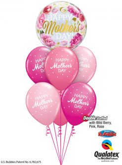 Bukiet 913 Wild Berry, Rose, & Pink Mother's Day Petite Polka Dots Qualatex #82541 85704-6 43791-2 43766-2 25572-2