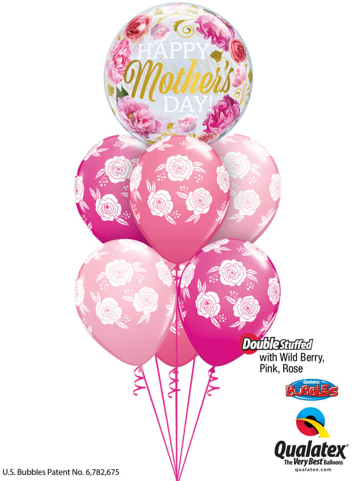 Bukiet 915 Wild Berry, Pink, & Rose Mother's Day Blossoms Qualatex #82541 85640-6 43783-6