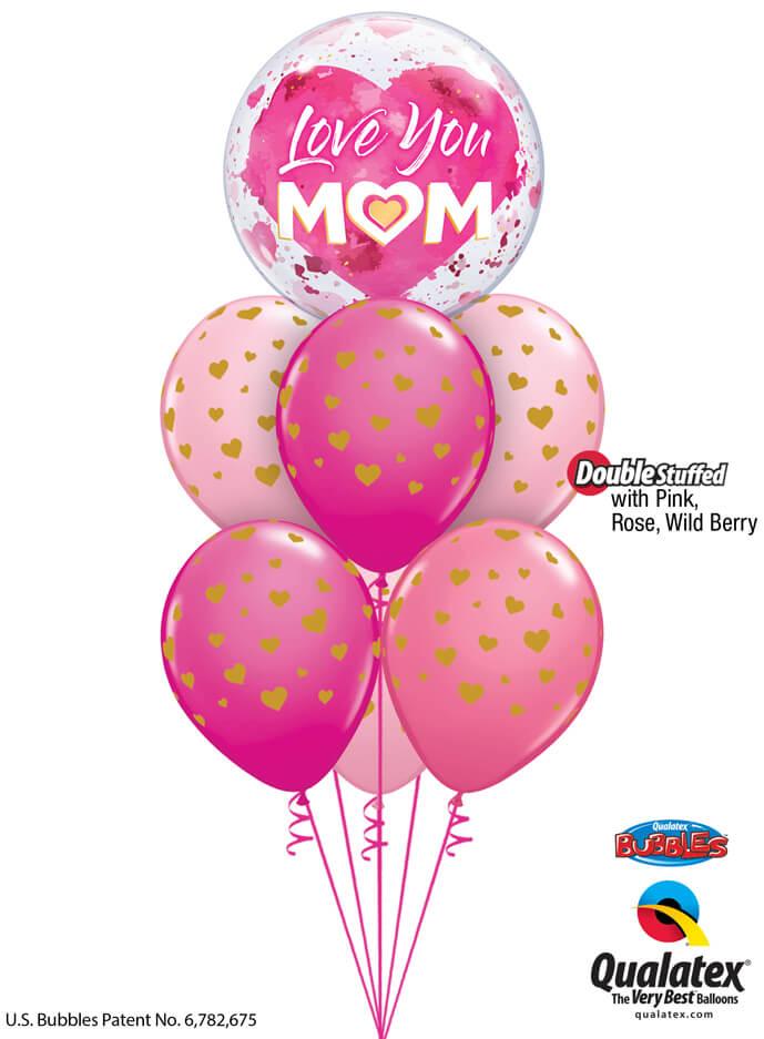 Bukiet 905 Mother's Day Little Golden Hearts Bouquet Qualatex #82542 85706-6 43791-2 43766-2 25572-2