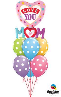 Bukiet 938 Mother's Day Polka Dot Hearts Qualatex #82552 86421-6