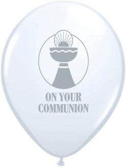 "11"" / 28cm On Your Communion White Qualatex #92023"