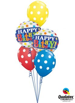 Bukiet 969 Polka-Dotted Primary Color Birthday Qualatex #49047-2 17316-3