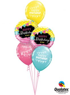 Bukiet 972 Birthday Pennant Party Qualatex #49144-2 50209-3