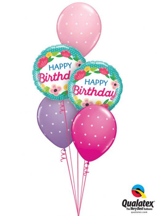 Bukiet 973 Petite Polka Dot Birthday Butterflies & Flowers Qualatex #49158-2 18464-3