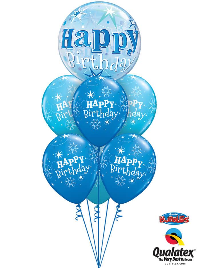 Bukiet 1017 Blue Starburst Birthday Qualatex #48433 38858-6