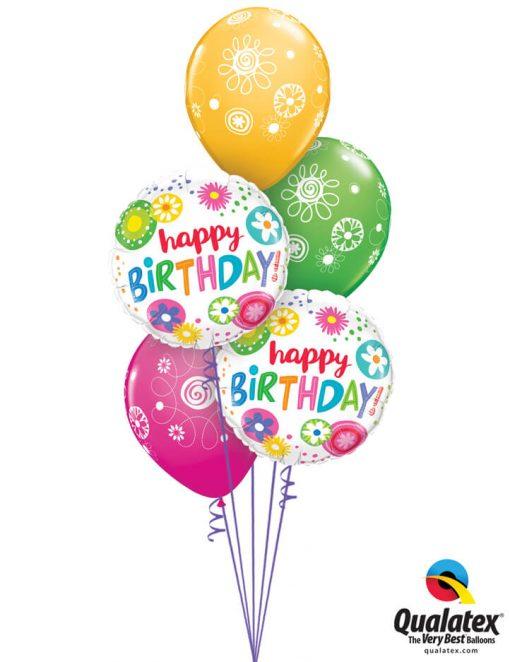 Bukiet 1026 Hand Drawn Happy Birthday Qualatex #49052-2 48371-3