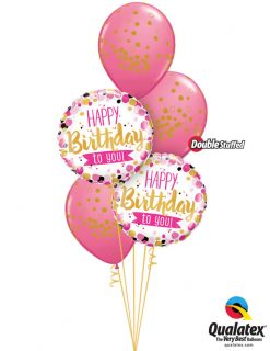 Bukiet 1023 Pink & Gold Birthday Dots Qualatex #49170-2 56844-2 43791-2