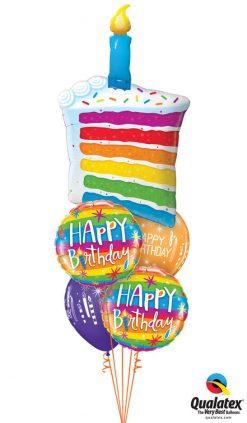 Bukiet 1019 Rainbow Birthday Cake Qualatex #49379 49043-2 52963-2