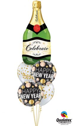 Bukiet 1129 Happy New Year Champagne Bubbles Qualatex #16122 58163-2 56844-2