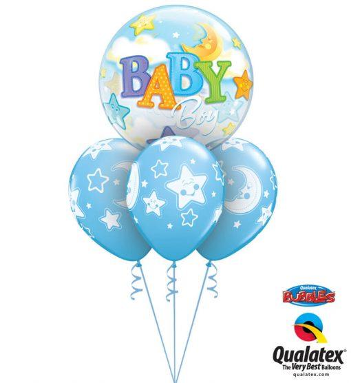 Bukiet 1072 Pale Blue Baby Boy Moon & Stars Qualatex #23597 24941-3