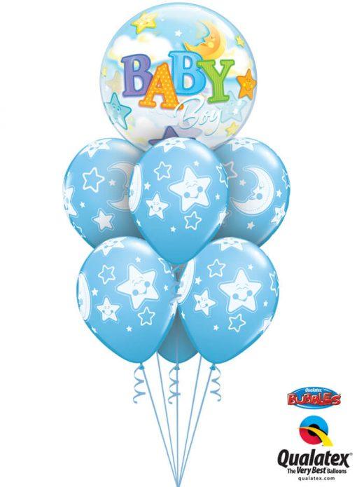 Bukiet 1071 Pale Blue Baby Boy Moon & Stars Deluxe Qualatex #23597 24941-6