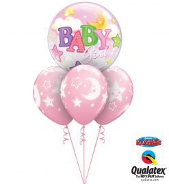 Bukiet 1069 Pink Baby Girl Moon & Stars Qualatex #23598 24940-3