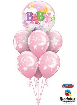 Bukiet 1070 Pink Baby Girl Moon & Stars Deluxe Qualatex #23598 24940-6