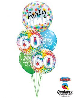 Bukiet 1037 You're 60 — Time to Party! Qualatex #23636 49548-2 52962-2