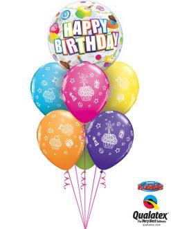 Bukiet 1077 Colorful Birthday Cupcakes & Candles Qualatex #30799 31227-6