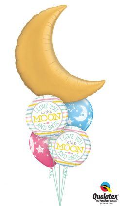 Bukiet 1043 Love You To the Moon and Back Bouquet Qualatex #36530 55382 24941 24940