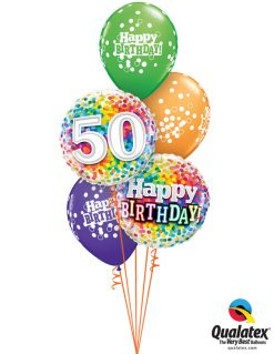 Bukiet 1050 50 Rainbow Confetti Birthday Bouquet Qualatex #49496 49543 52964-3