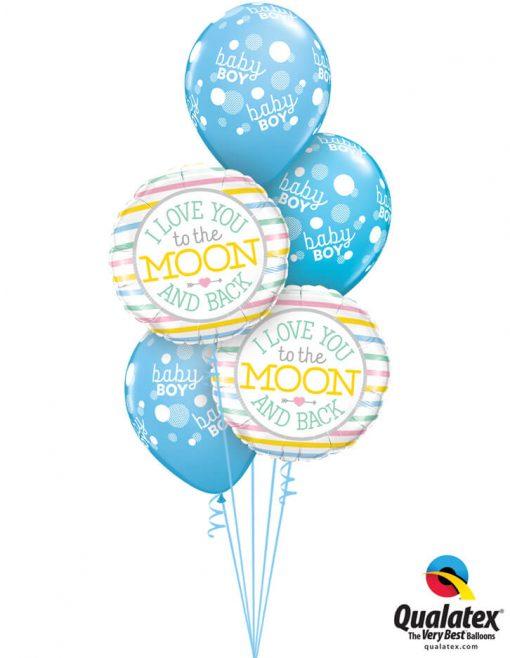Bukiet 1045 Baby Boy Blue Moon Bouquet Qualatex #55382-2 55988-3