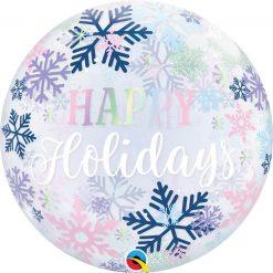 "22"" / 56cm Happy Holidays Snowflakes Qualatex #14834"