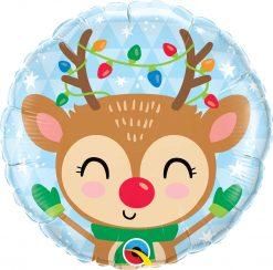 18″ / 46cm Reindeer & Colored Lights Qualatex #15019
