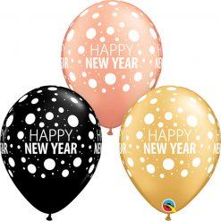 "11"" / 28cm 6szt Happy New Year Dots Asst of Gold, Onyx Black, Rose Gold Qualatex #16486"