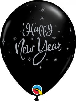 "11"" / 28cm New Year Sparkle Asst of Silver, Onyx Black Qualatex #40905-1"