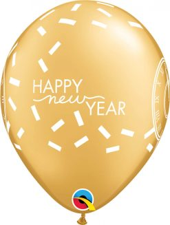 "11"" / 28cm New Year Confetti Countdown Asst of Gold, Silver Qualatex #46512-1"