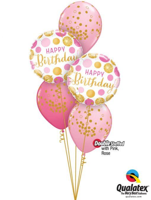 Bukiet 1187 Happy Birthday Glittering Polka Dots Qualatex #49164-2 56844-3 43766-2 43791