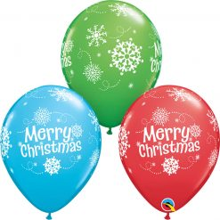 """11"""" / 28cm Merry Christmas Snowflakes Asst of Red, Spring Green, Robin's Egg Blue Qualatex #55239-1"""