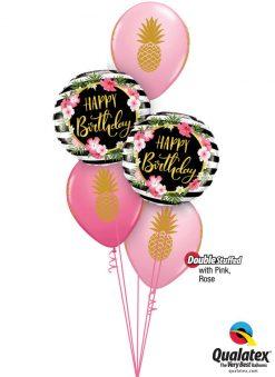 Bukiet 1149 Pink & Rose Pineapple Party Qualatex #57280-2 57552-3 43791 43766-2