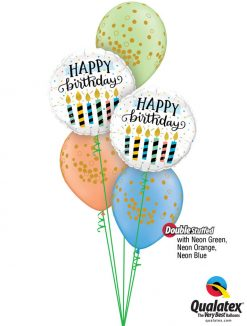 Bukiet 1188 Bright Polka Dots and Birthday Candles Qualatex #57289 56844-3 78389 74574 74572