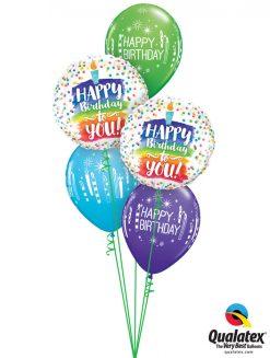Bukiet 1156 Rainbow Cake & Candles Birthday Qualatex #57298-2 52963-3