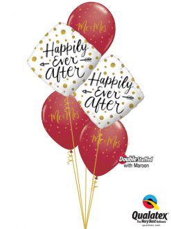 Bukiet 1168 Happily Ever After Maroon & Gold Dots Qualatex #57337-2 57777-3 57132-3