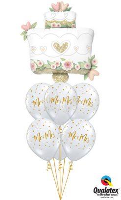 Bukiet 1174 Mr. & Mrs. Glittering Wedding Cake Qualatex #57377 57777-6